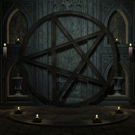 altar: 3D rendering background ritual space with Pentagram Stock Photo