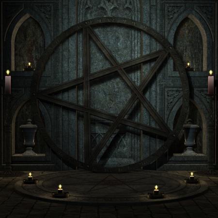 rituales: Fondo 3D rendering espacio ritual con Pentagram