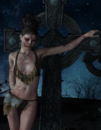 esoterismo: Representación 3D de una mujer herida en una cruz