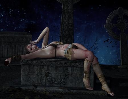 sacrificio: Representación 3D de una mujer herida en una tumba