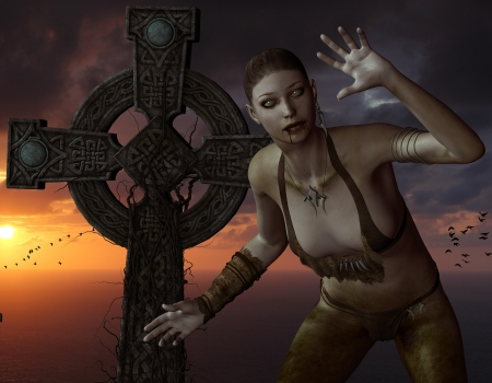 rune: 3D rendering an undead woman in front of a cross on the sea