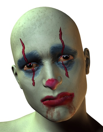 3D rendering of a sad and bloody clown photo