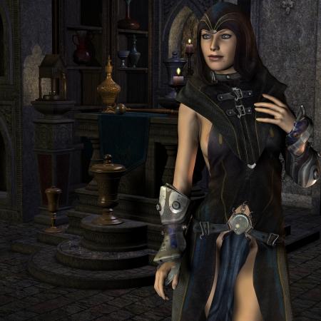 priestess: 3d rendering of a priestess at an altar