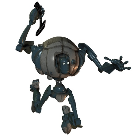 3D rendering of an aggressive robot photo