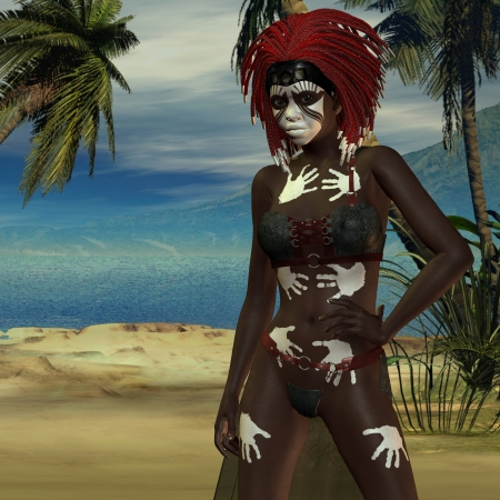 priestess: 3D rendering of a voodoo priestess at the beach