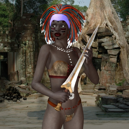 priestess: 3D rendering of a voodoo priestess with victims sword