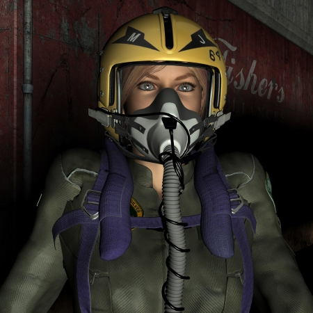 3D rendering of a female pilot with mask and helmet photo