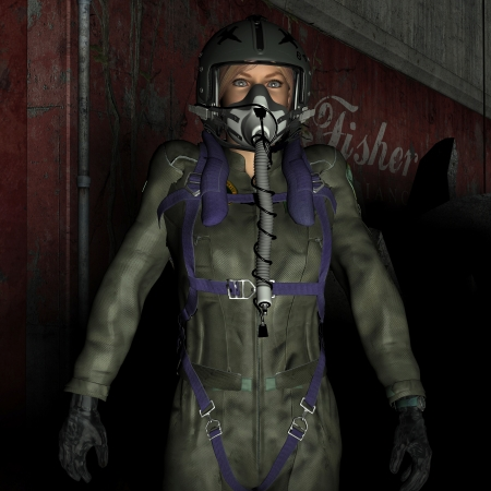 3D rendering of a female pilot with protective mask photo
