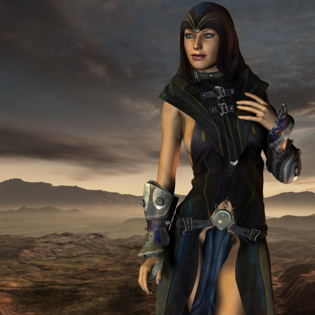 somber: 3d rendering of a Dark Priestess Stock Photo