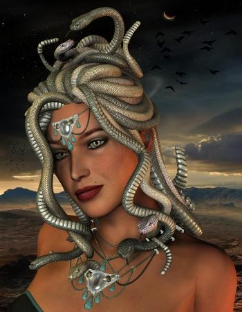 medusa: 3D rendering of the mythological Medusa Stock Photo