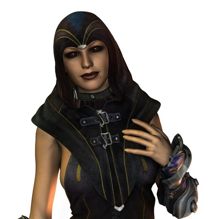 priestess: 3D rendering of a dark priestess with blood eyes