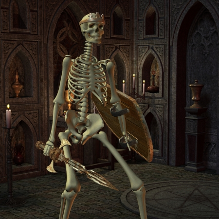 pentagram: 3D rendering of a skeleton warriors in the altar room Stock Photo