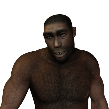 hunters: 3D rendering of early man erectus