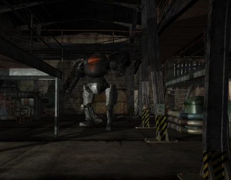 3D rendering of a battle robots in a factory building photo