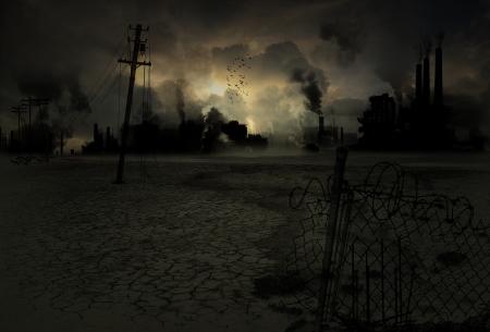 파괴 및 오염 된 산업 도시의 배경