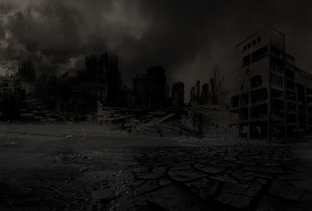 mounting: Background destroyed city after a disaster Stock Photo
