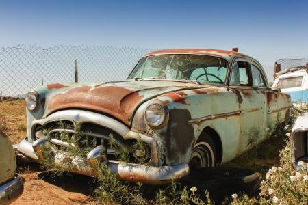 rusty car: old rusted car on an American Junkyard