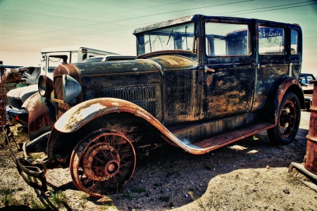 junk yard:  vintage car Stock Photo