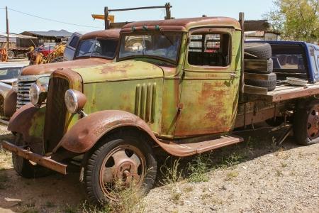 ramshackle: Old American Pickup at a junkyard Stock Photo