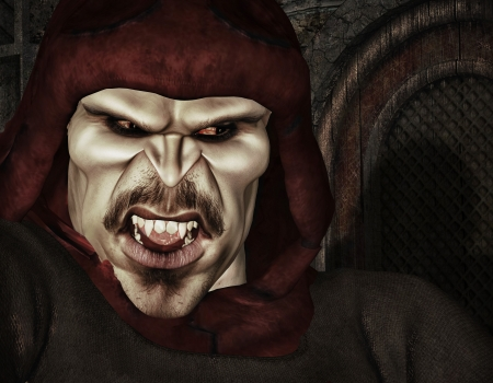 undead: 3d rendering of a angry vampire as an illustration