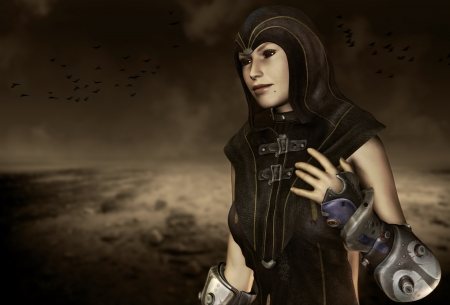 end times: 3D rendering of a priestess of the end times