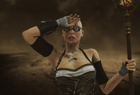 3D rendering of a Steampunk Woman with torch photo