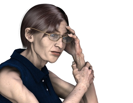unemployed: 3d rendering of a lonely older woman as an illustration