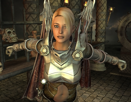 3D rendering of a fantasy woman in armor photo