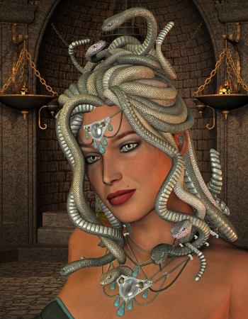 3D rendering of the mythological Medusa in the throne room photo