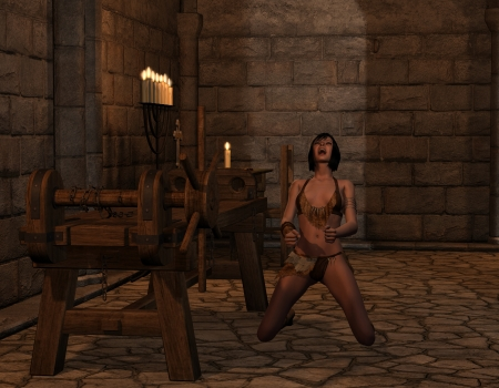 3D rendering of a woman screaming in the inquisition room photo