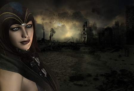 end times: Background image with a High Priestess in the end time scenario Stock Photo