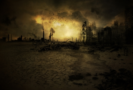 ruined: Background image with an apocalyptic scenario Stock Photo
