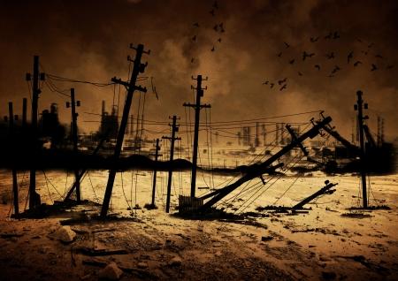 apocalypse: Background image of a destroyed city Stock Photo