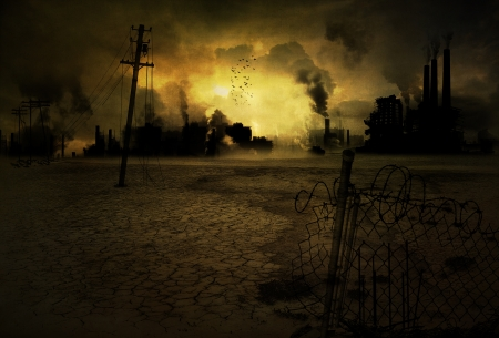 post apocalypse: Background of a ruined and polluted industrial city