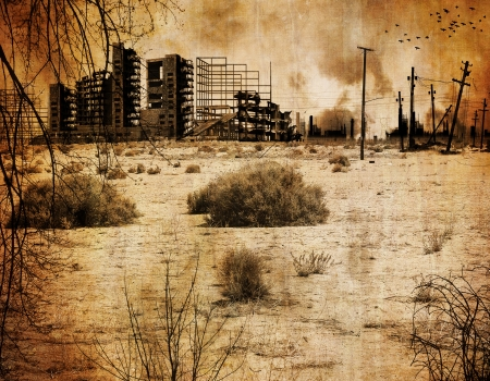 ruined: Background desert town after the nuclear apocalypse