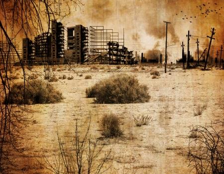 Ciudad del desierto de fondo después del apocalipsis nuclear