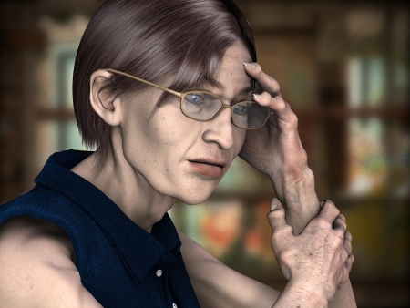 sick people: 3d rendring a lonely older woman as illustration with background