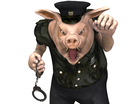cops: 3d rendering of a pig as a policeman with handcuffs as illustration in comic style Stock Photo