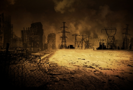 disaster: Background image with an apocalyptic scenario Stock Photo