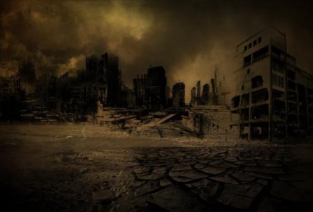 Achtergrond verwoeste stad na een ramp Stockfoto