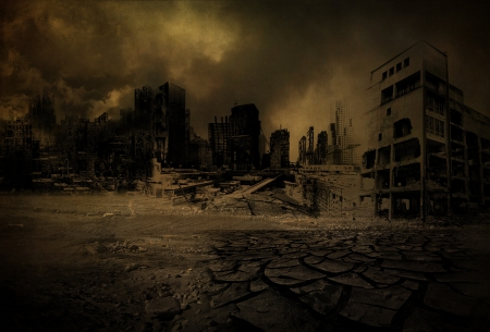 Background destroyed city after a disaster Stok Fotoğraf