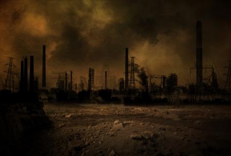 Sfondo di uno scenario post apocalittico Archivio Fotografico