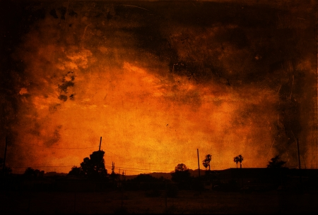 conflagration: Fire sky as background with texture layering