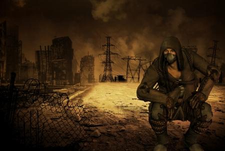 end times: Man with respirator in an apocalyptic scenario Stock Photo