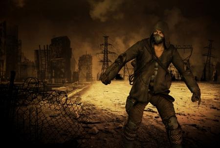 end times: Survivor Man in apocalyptic scenario Stock Photo