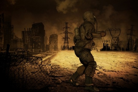 Man in a post Apocalyptic scenario photo