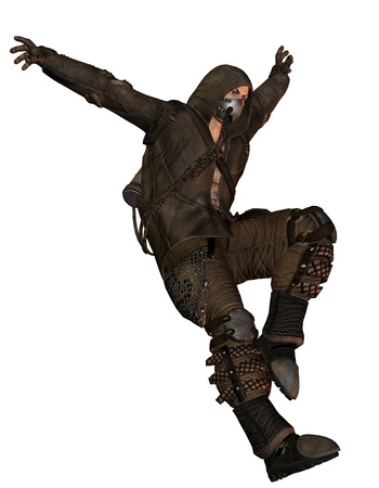 end of time: End time warrior with a gas mask while jumping Stock Photo
