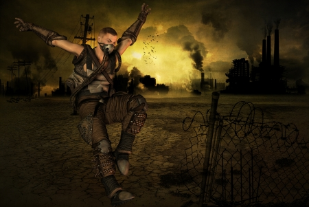 end times: Jumping man in front of a post apocalyptic background