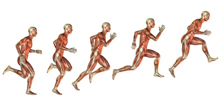 leg muscle: Muscle study of man in the approach to the jump Stock Photo