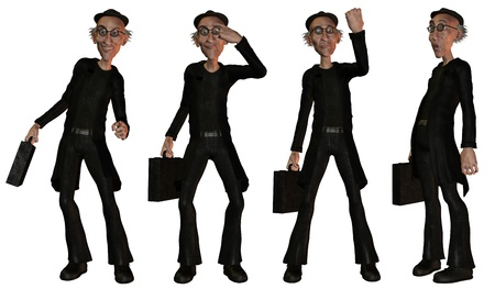 Illustration of a businessman in various poses illustration